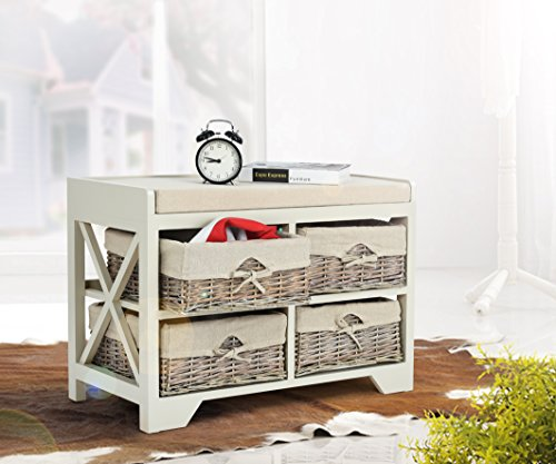 Cement Finish Storage Bench with Cushion and 4 Baskets