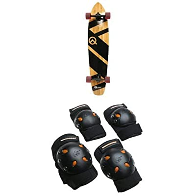 "Quest Super Cruiser Artisan Bamboo Longboard Skateboard, 44"" and Mongoose BMX Bike Gel Knee and Elbow Pads : Sports & Outdoors"