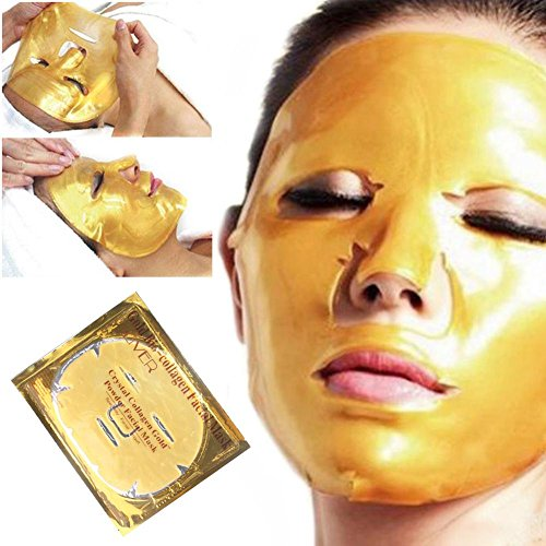 Sheets 5 Mask Essence (Perfectshow collagen Gold Black crystal facial mask 5 pcs collagen essence full face Moisturizing Hydrating facial mask sheet)