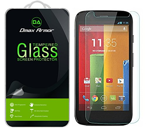Moto G (1st Gen) Glass Screen Protector, Dmax Armor Ballistics [Tempered Glass] Motorola Moto G (1st Generation), 99% Touch-Screen Accurate, Anti-Fingerprint, Bubble Free, [0.3mm]