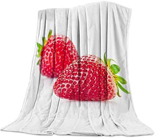 PacoShower Ultra Soft Throw Blanket Flannel All Season Lightweight Bed Blanket Fruit Pattern Design Fresh Strawberry Digital Print Microfiber Blankets for Kids Adults 59x79 Inch King Size