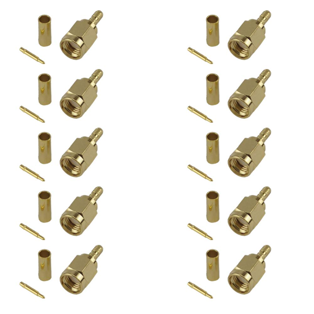 Pack of 10 SMA Male Crimp Connector RG316//RG174