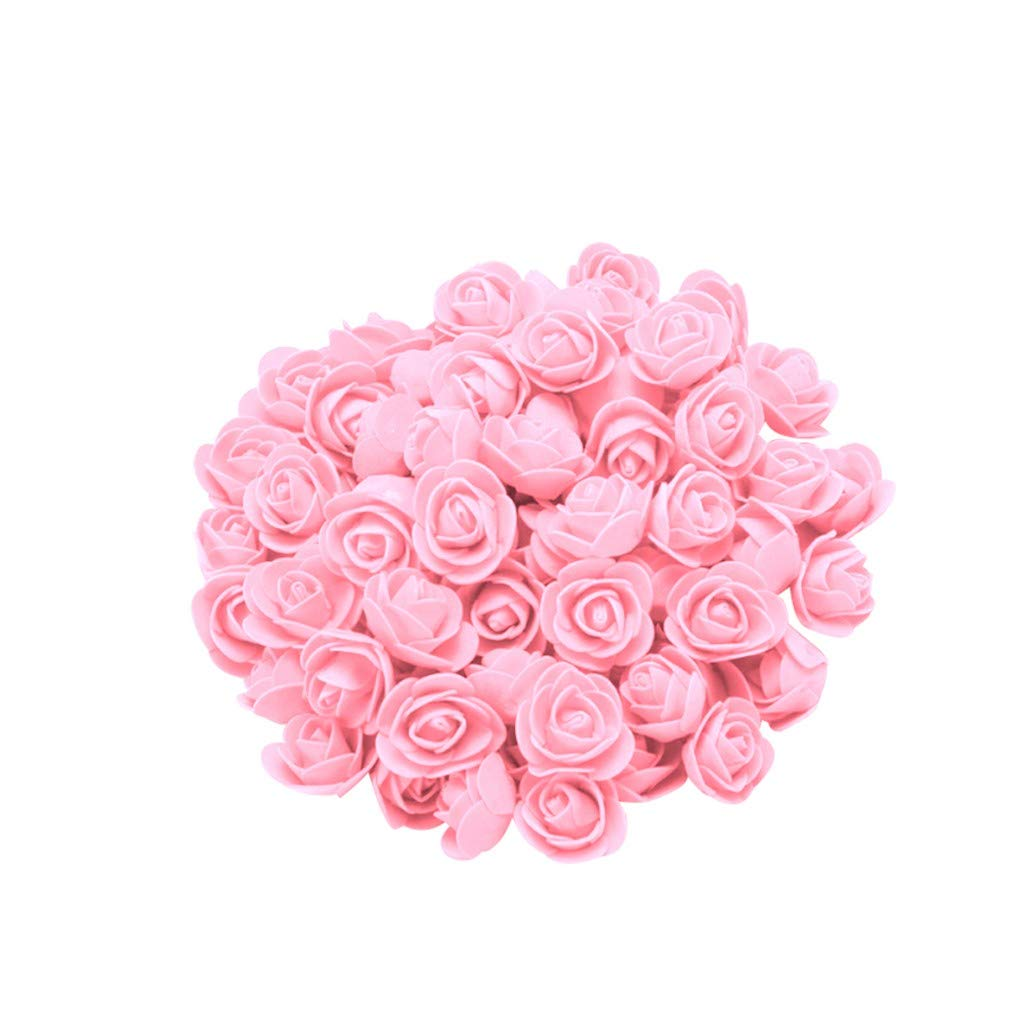 Cyhulu New Fashion Creative 100Pcs Foam Rose Flower Heads Best Lover Gifts for Wedding Birthday Valentine Mother's Day Favors Decoration (H, One size)