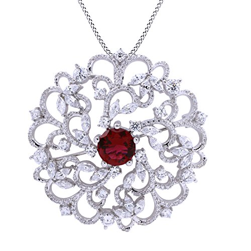Ruby Brooch Pendant - Jewel Zone US Simulated Ruby & White Cubic Zirconia Flower Swirl Brooch Pin Medallion Vintage Pendant in 925 Sterling Silver