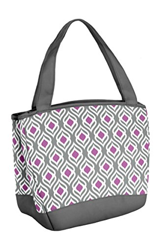Fit & Fresh Hyannis Insulated Lunch Bag for Women, Soft Cooler Bag with Ice Pack for Work and On-The-Go, Gray Orchid Leaf Drop - Bag Lined Cotton Fully Shoulder