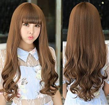 Amazon 2018 The New Scroll Fluffy Wig Hair Round Face