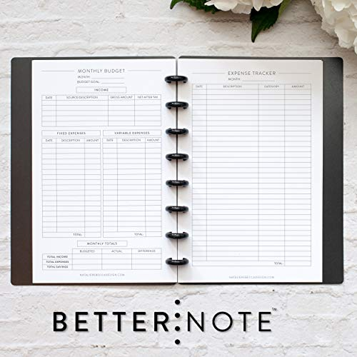 BetterNote Home Finance Kit for Junior Size Disc-Bound Planners, Fits 8-Disc Circa Jr. Notebook, Arc Junior, TUL, Half Letter 5.5