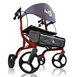 Hugo Explore Side-Fold Rollator Walker with Seat, Backrest and Folding Basket, Cranberry