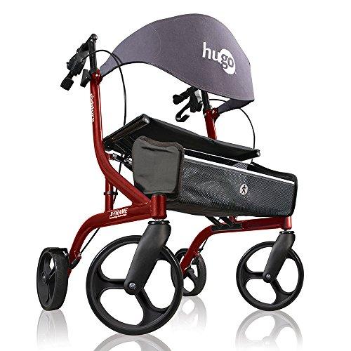 Hugo Mobility Explore Side-Fold Rollator Walker with Seat, Backrest and Folding Basket, Cranberry