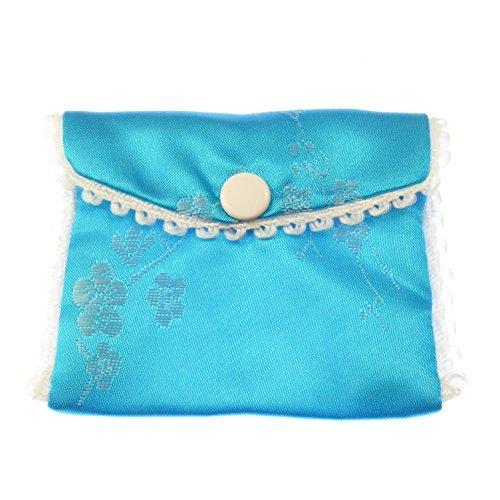 Tela azul bordado rosario monedero botón botones cierre 8cm sedoso: Amazon.es: Hogar