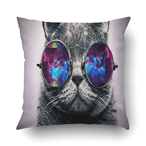 Emvency Pillowcases Dec Hipster Cat with colorful Galaxy Sunglasses Printing Cushion Cover Throw Pillow Cases Square 18x18 - Ethical Sunglasses