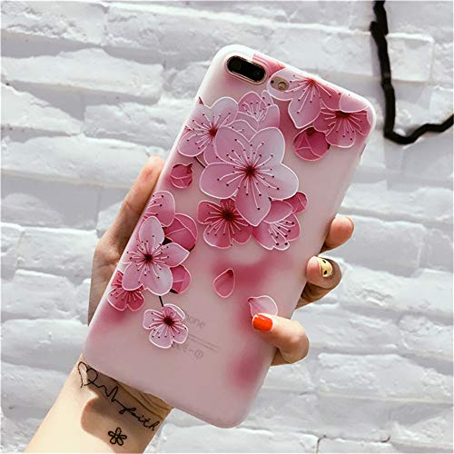 - iPhone 8 Soft Case,iPhone 7 Case,AusFeLin 3D Emboss Beautiful Flower Pattern Slim fit Shock-Absorbing Soft Rubber Clear TPU Skin Cover Case for iPhone 7 iPhone 8 (Cherry Blossom)
