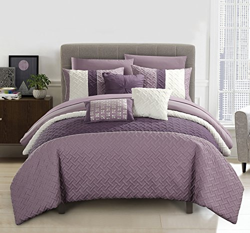 Chic Home Osnat 10 Piece Comforter Set Color Block Quilted Embroidered Design Bed in a Bag Bedding – Sheets Decorative Pillows Shams Included King Plum
