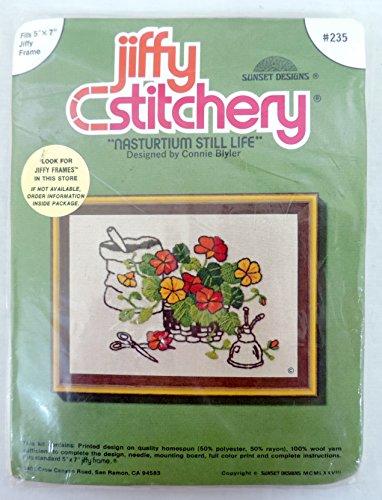 Jiffy Stitchery Nasturtium Still Life Needlepoint Kit 235 by Connie Blyler - Life Wool Needlepoint Kit