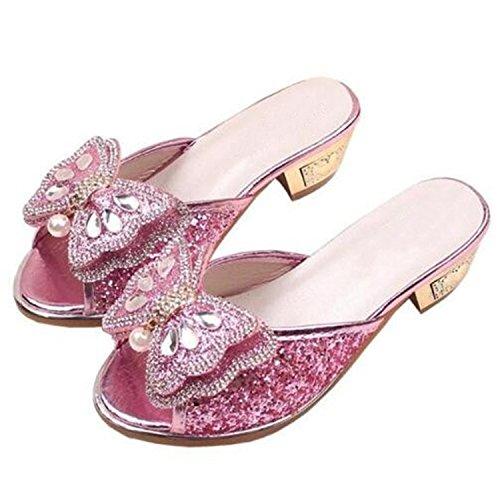 Feilongzaitianba Girls Sandals Slippers Children Summer High-Heeled Princess Shoes Bowtie Glitter Kids Sandals Slides 033 Pink 11