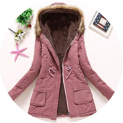 Winter Coats Women Cotton Wadded Hooded Jacket Casual Parka Snow Outwear,Dark Pink,XXL