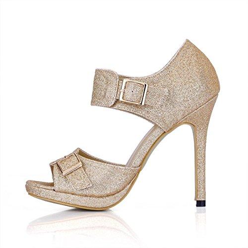 especial metal de 12CM mujer Toe Best Zapatos Rosa 4U® para Material Sandalias aguja altos de Tacón verano Hebilla de Tacones Peep 4qpUX