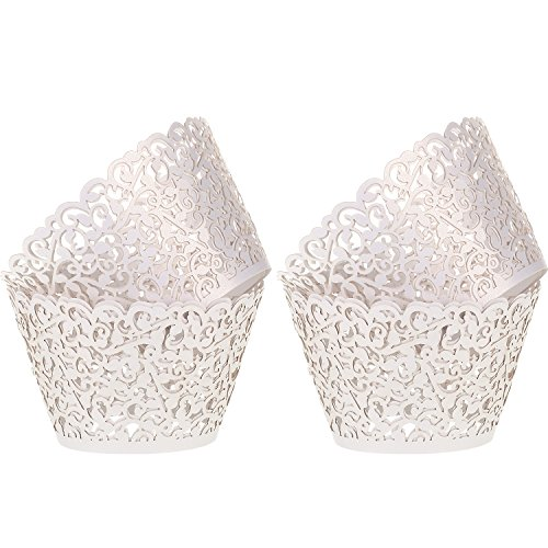 Leinuosen 150 Pieces Cupcake Wrappers Filigree Vine Cupcake Wraps Lace Cupcake Liners for Wedding Birthday Baby Shower Parties Decoration (White)