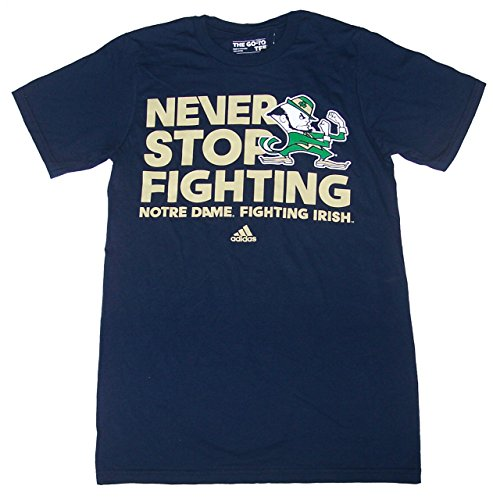 Adidas Notre Dame Fighting Irish Football NEVER STOP FIGHTING Navy Short Sleeve Shirt Adult Size Small NCAA Authentic and ()