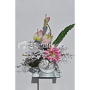 Botanical Pink Amaryllis & Anthurium Exotic Floral Arrangement 2