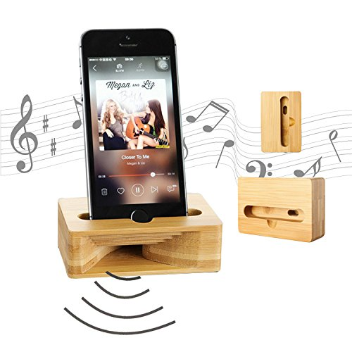 Wooden Cell Phone Stand, Coopsion Phone Holder Wooden Sound Amplifier for iPhone 7 7Plus 6 6Plus Samsung and Cell Phone (Iphone Amplifier Speaker)