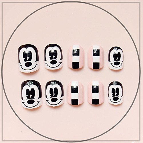 24 Pcs Brown Press On Fake Nails With Short Kawaii False Nail Tips Artificial Faux Ongles With Glue Sticker white mickey