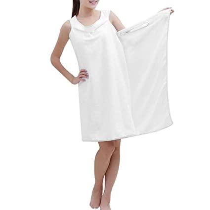 d37a0041a0 mr.caller New Womens Ladies Bathrobes Body Wrap Bath Towel For Sauna Spa  Shower Robe Bathrobe Absorbent Dressing Gown Skirt UK (White)   Amazon.co.uk  ...