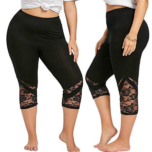 Juesi Plus Size Skinny Leggings, Women's High Waist Lace Yoga Fitness Pants Black ()
