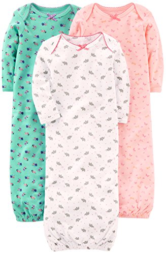 Simple Joys by Carter's Baby Girls' 3-Pack Cotton Sleeper Gown, Pink/Mint/White, Newborn