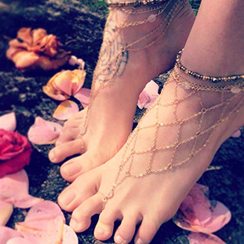 DearAnswer Trendy Toe Ankle Chain Beach Barefoot Sandals Foot Jewelry for Women Girls