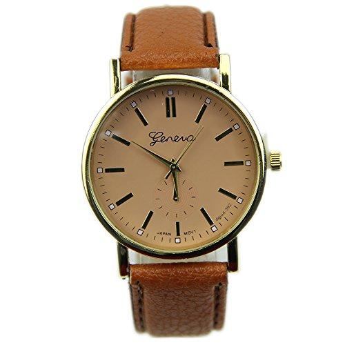 HeroNeo® Men's Women's Geneva Roman Numerals Faux Leather Band Analog Quartz Wrist Watch (Coffee)