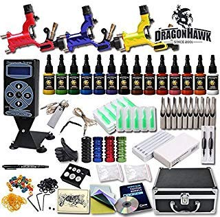 - Professional Complete Tattoo Kit 3 Top Rotary Machine Gun 14 Color Ink 50 Needles Power Supply