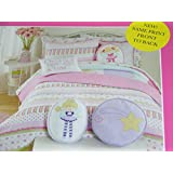 Charles Street Kid's Collection 2 Piece Pink, Lavender, Green Striped Twin Quilt Set with Shams