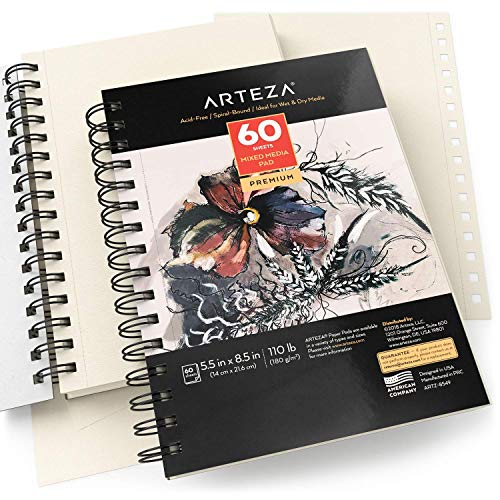 "ARTEZA 5.5x8.5"" Mixed Media Sketch Book, 2 Pack, 120 Sheets (60 / Each), 110lb/180gsm, (Acid-Free, Micro-Perforated), Spiral-Bound Pad, Ideal for Wet and Dry Media, Sketching, Drawing, and Painting"