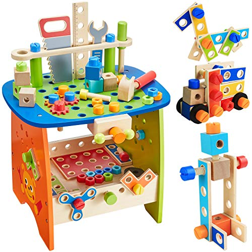 Ohuhu Tool Bench Set Kids Toy Play Workbench, Kids Wooden Tool Bench Workshop, Workbench with Tools Set (89 Piece Set), Wooden Construction Bench Toy for Boys Girls Birthday Gifts 3 Year Old and Up