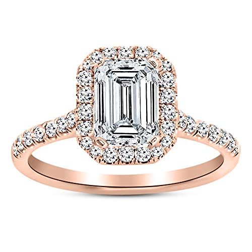 1.3 Carat GIA Certified 14K Rose Gold Halo Emerald Cut Diamond Engagement Ring (0.8 Ct D Color VS2 Clarity Center) - Emerald Rose Cut Diamond