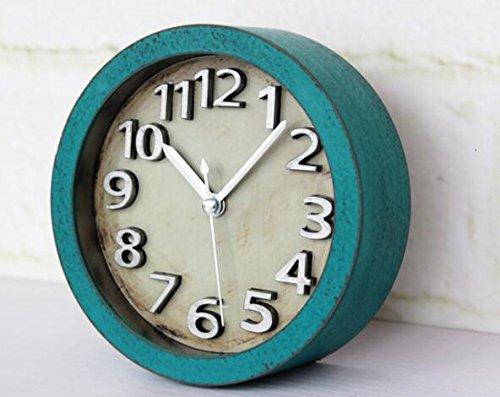 Usany 5 inch Vintage Wood Pattern Analog Table Clock Arabic numbers Silent Non-ticking Quartz Desk Clock Alarm Clock Round Desk Clocks 3D Clock (Green) by Usany (Image #2)