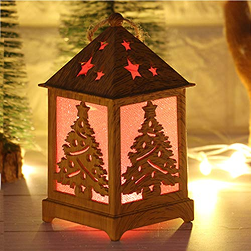 Wood Chunky Vintage (Coohole Vintage Style Decorative Christmas Wooden Cabin Light,Indoor Lanterns Decorative,Outdoor Hanging Christmas Snow House with Light,Decorative Wooden Cabin Light (A))