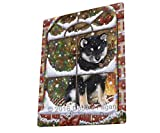 Please Come Home For Christmas Shiba Inu Dog Sitting In Window Blanket BLNKT54255 (60x80 Woven)