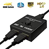 M.Way 4K HDMI Switcher 2 Ports HDMI Splitter 2 in 1 out HDMI Auto Switch Box HDMI Bi-Directional Switcher Support Ultra HD 4K 3D 1080P for DVD, HD TVs, Projectors, PS3, PS4, Computer, Notebook ect