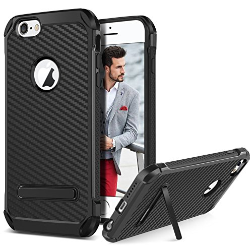 (iPhone 6 Plus Case,iPhone 6S Plus Case,BENTOBEN 2 in 1 Hybrid Soft TPU Bumper Hard PC Back Cover Carbon Fiber Texture Shockproof Protective Phone Case with Kickstand for Apple iPhone 6/6S Plus,Black)