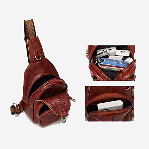 Sling bags Camping Backpack Gym Cycling Bag Cross Chest Leather body Travel Red Shoulder Genuine bag Hiking SIFINI Bag for 7xvEAy