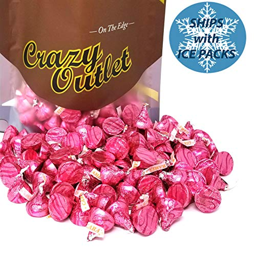 - CrazyOutlet Pack - Hershey's Kisses Caramel Milk Chocolate Candy Bulk, Pink Foils Wrap, Wedding Kisses, 2 lbs