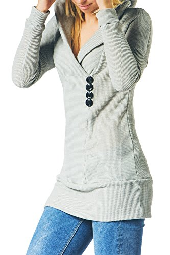 CUPSHE FASHION Women's Long Sleeve Shawl Collar Hooded Sweater, Grey (XL)