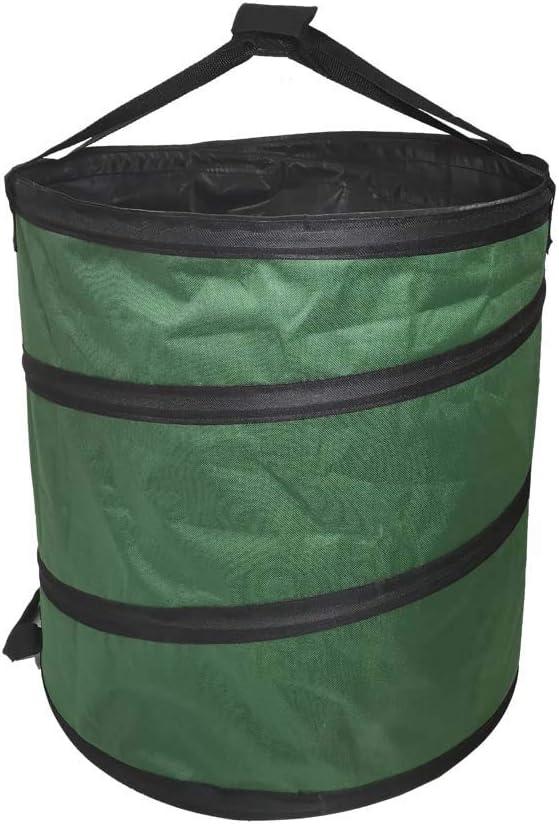 Pop Up Garden Bag 23 Gallon Reusable Gardening Waste Bag Collapsible Bucket Pop-Up Spring Garden Bucket Leaf & Lawn Pool Yard Trash Bag Tank Green Portable Lawn Leaf Laundry Bags D47xH48cm (22GL)