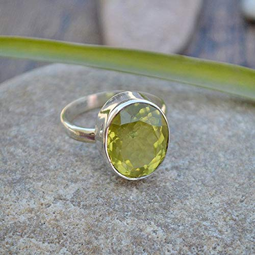 (Lemon Quartz Gemstone Ring, 925 solid Sterling Silver Ring, Oval Cut Birthstone Ring, Solitaire Ring, Valentine Gift Ring, women's ring, gift for sister, wedding ring)