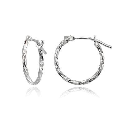 4688da2fd Amazon.com: 14K White Gold Tiny Small 12mm High Polished Twist Thin  Lightweight Unisex Hoop Earrings for Men Women Girls: Jewelry