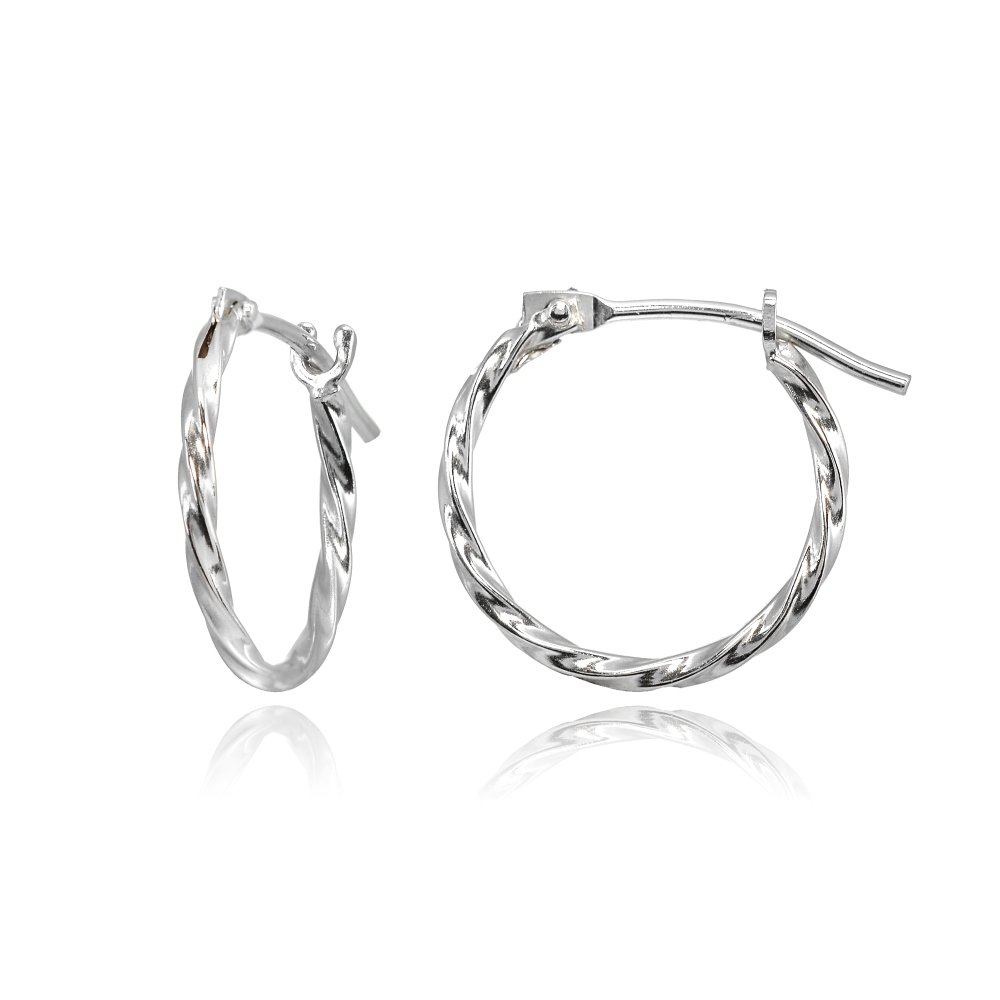14K White Gold Tiny Small 12mm High Polished Twist Thin Lightweight Unisex Hoop Earrings for Men Women Girls