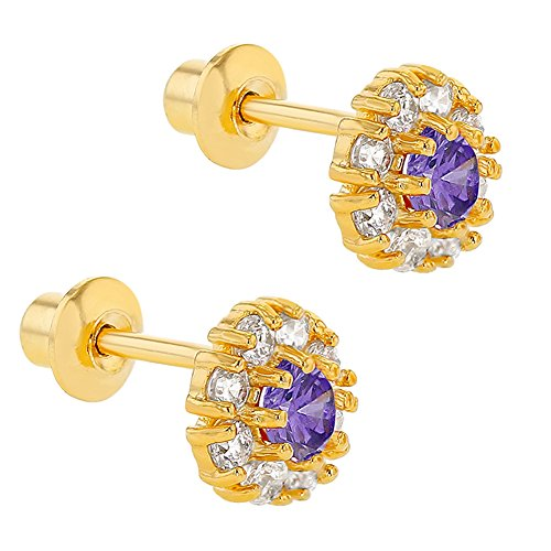 Lavande Fleur De Cristal Violet Plaqué Or 18K à vis arrière filles Boucles d'oreilles 6mm