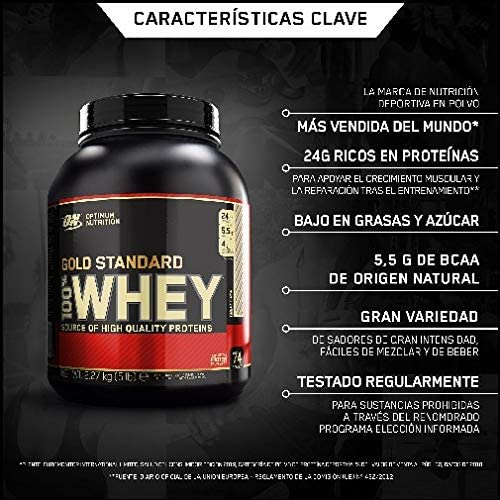 Optimum Nutrition Gold Standard 100% Whey Proteína en Polvo Suplementos Deportivos, Glutamina y Aminoacidos, BCAA, Rocky Road, 72 Porciones, 2.27 kg